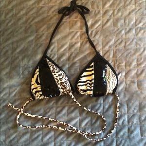 Guess Animal Print Sequin Bathing Suit Top